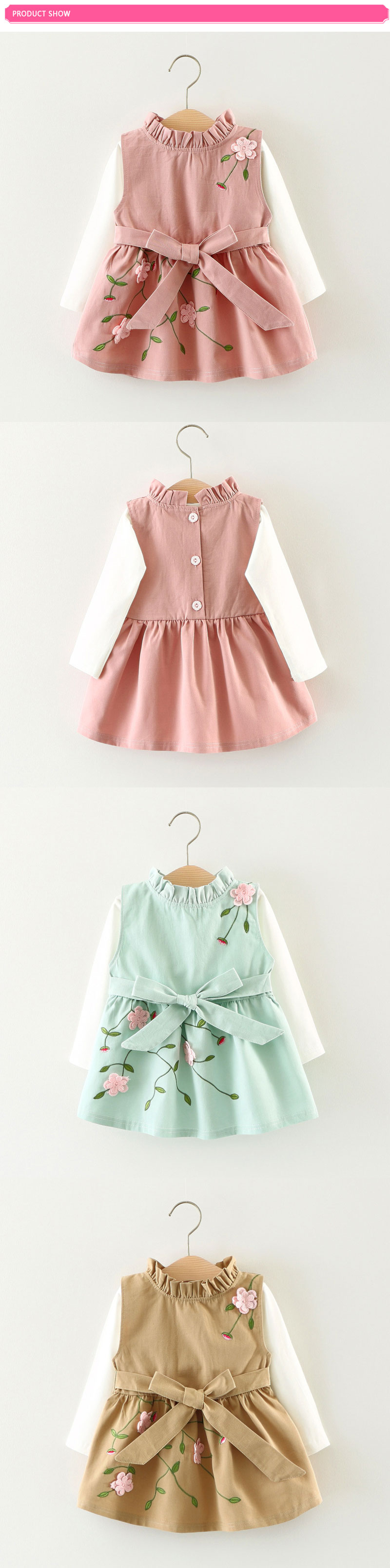 52d7b3d66ee 2017 Baby Girls Dress Autumn 0 3 Year Embroidery 3D Flowers Princess ...