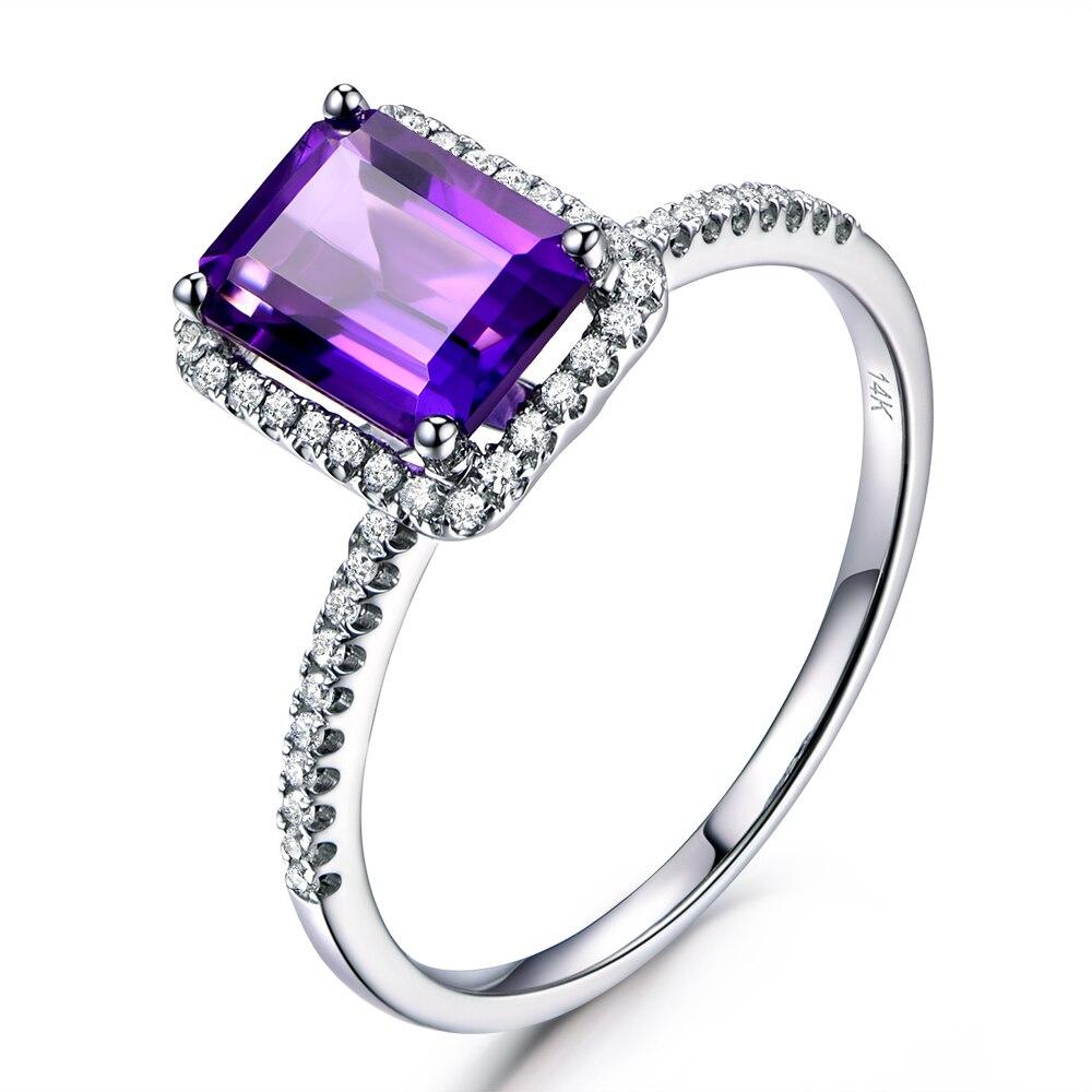 Myray 6x8mm Emerald Cut Natural Genuine Purple Amethyst Crystal Engagement  Ring Vintage Diamond Rings For Men Mens Women Wedding
