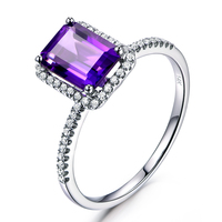 MYRAY 6x8mm Emerald Cut Natural Genuine Purple Amethyst Crystal Engagement Ring Vintage Diamond Rings for Men Mens Women Wedding