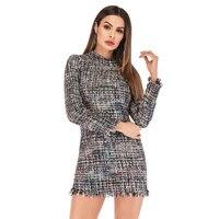 Plaid Dresses for Women 2019 Spring Autumn Vintage Color Block O Neck Long Sleeved Tassel Slim Party Dresses Tweed Office Dress