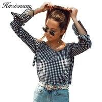 Hirsionsan Plaid Blouse Shirt Women Casual Cold Shoulder Tops 2017 Autumn Long Sleeve Lace Up Blouses