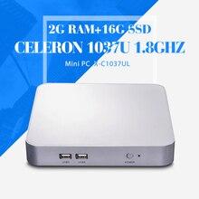 Дешевые настольных пк C1037U 2 г оперативной памяти 16 г SSD + wifi 2 * RJ-45 тонкий клиент мини-настольный супер мини настольный сингл-станции