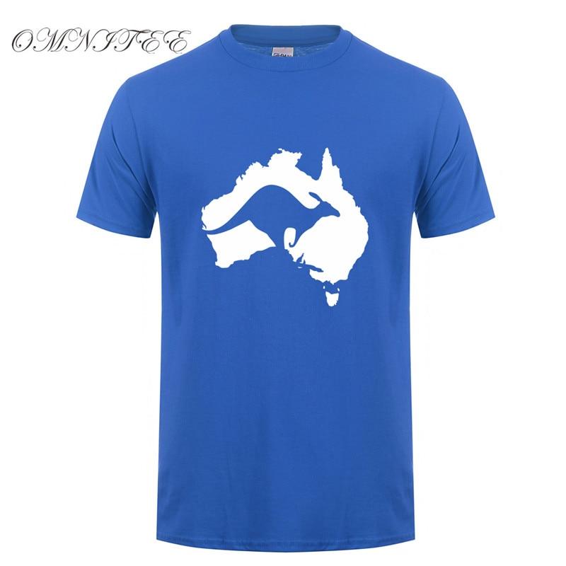 Omnitee Cool Australia Map Kangaroo T Shirt Men Cotton O-neck Summer Style Short Sleeve Australia T-shirt Tops Tee OT-521