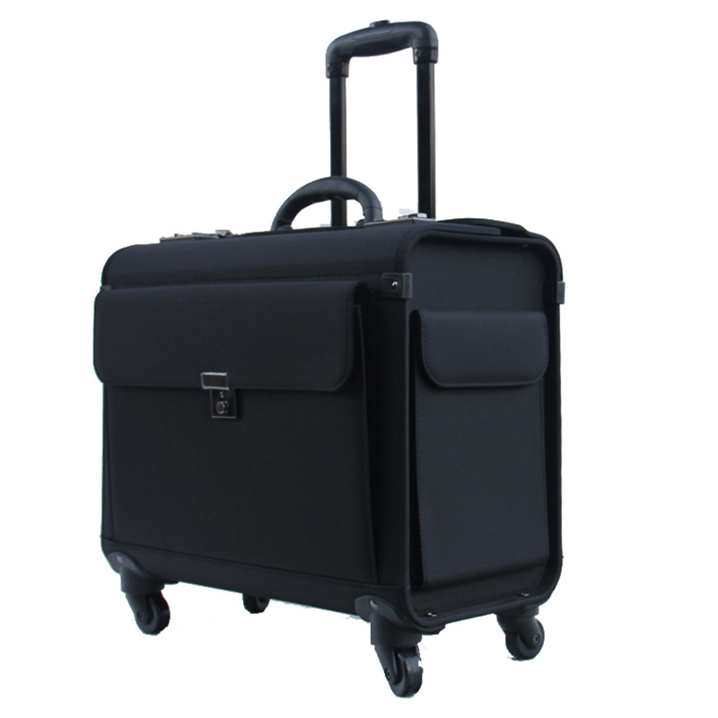 LeTrend 18 Inch Oxford Rolling Luggage Spinner Flight Attendant Suitcase Wheels Cabin Trolley Pilot Travel Bags Laptop Bag