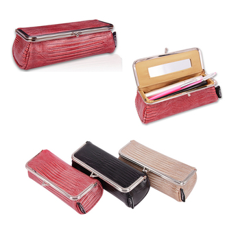 Women Fashion Party Makeup Bag With Mirror Small Cosmetic Organizer Travel Make Up Pen Lipstick Brush Toolbox Pouch Storage Case 2