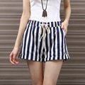 Summer Palazzo Shorts For Women Street Style Linen Striped Shorts High Waist Pocket Casual Shorts