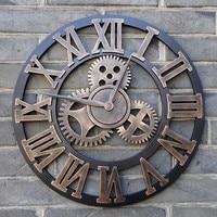 Ручной работы большой 3D ретро деревенский декоративный роскошный арт большая шестерня деревянные винтажные большие настенные часы на стен...