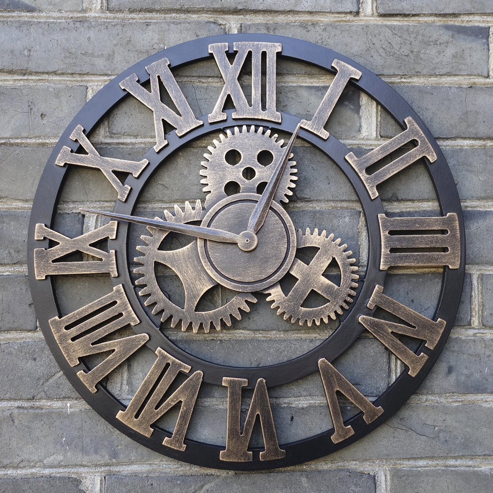 Handmade Oversized 3D retro rustic decorative luxury art big gear wooden vintage large wall clock on the wall for gift 20 inches