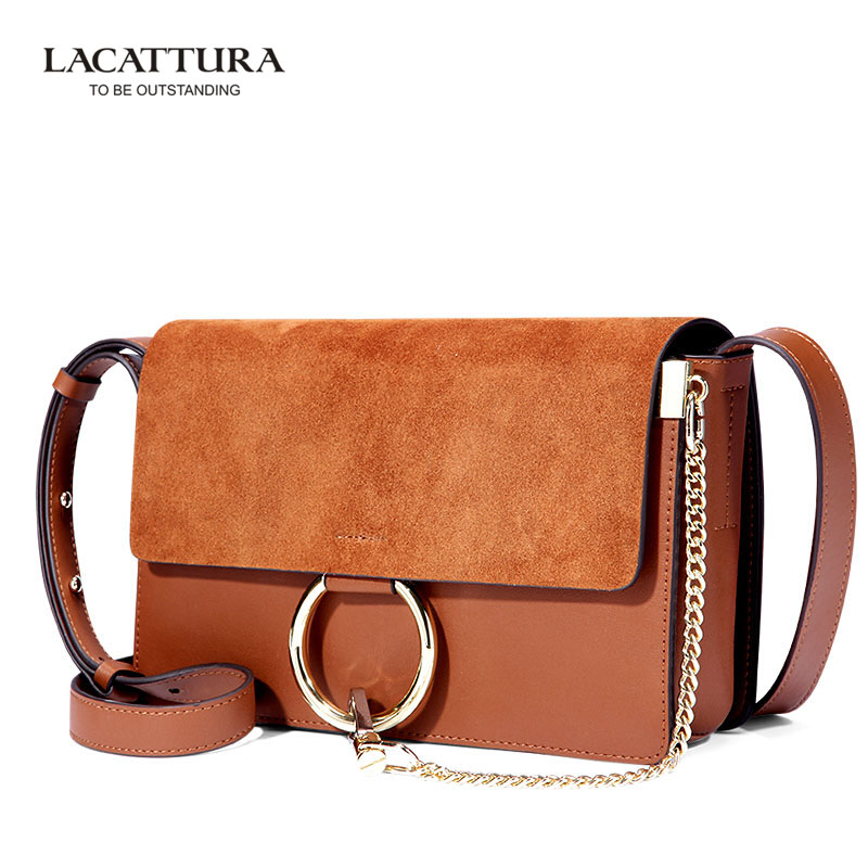A1302 Lacattura Brand Famous design casual women bag Flap women messenger bags Genuine Leather ring bag Suede leather handbag