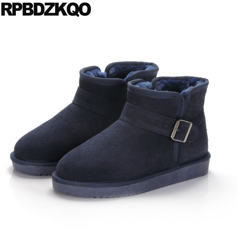 Suede Warm Flat Casual Ankle Round Toe Fur Slip On Winter Snow Boots Women Booties Shoes Blue New Fashion Short 2017 Female new 2017 hats for women mix color cotton unisex men winter women fashion hip hop knitted warm hat female beanies cap6a03
