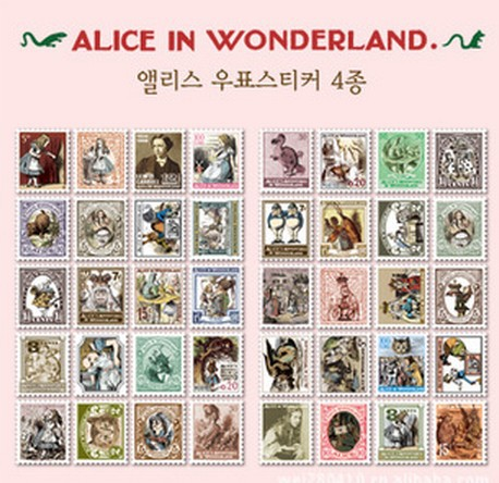 4pcs/lot New DIY vintage Alice series stamp paper sticker 4 sheets per set note sticker Decoration label