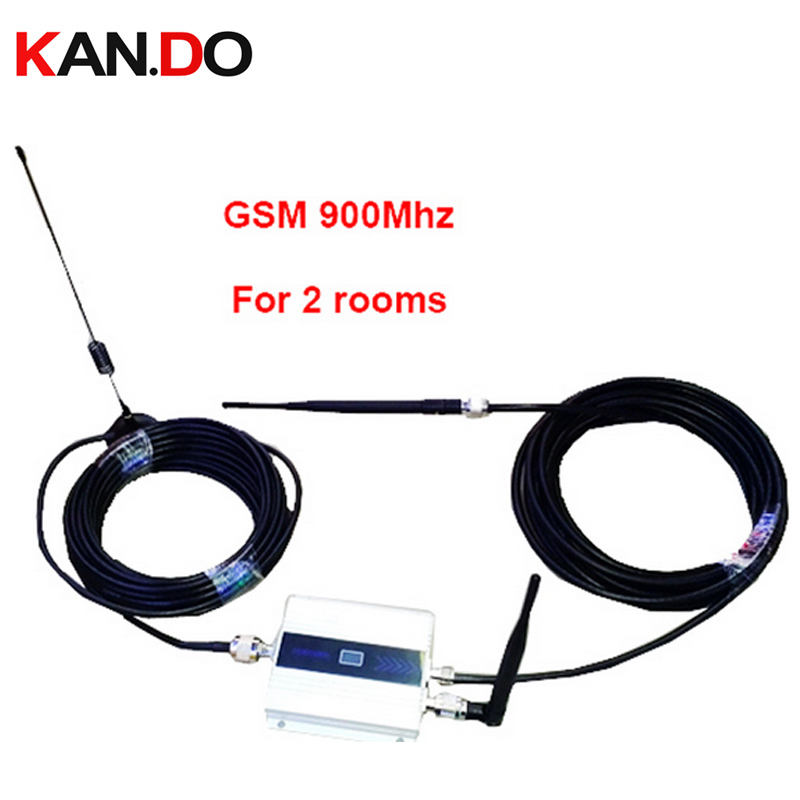 For 2 Rooms W/ 20 Meters Cable Antennas Dual Output 55dbi LCD Display GSM 900Mhz Booster And GSM Repeater GSM SM Booster