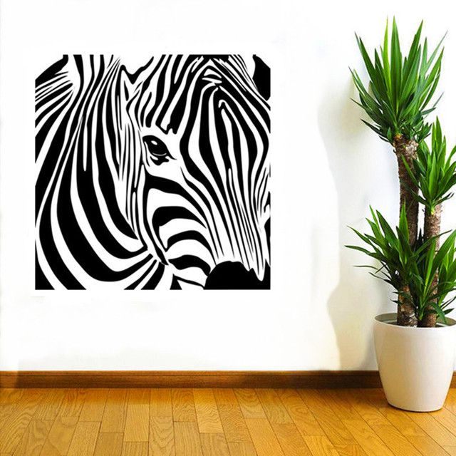 CaCar New Design Geometric Zebra Wall Sticker Abstract Animal Series Decals  3D Vinyl Wall Art Custom