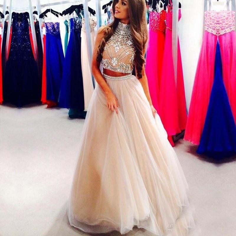 836c98ebd2 Robe de soiree Luxury Beaded Crystal 2 Piece beautiful long prom ...