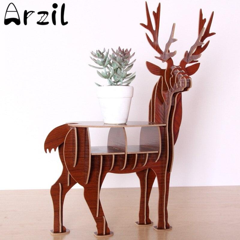 Wooden Wildlife Deer Model Storage Rack 3D Puzzle DIY Elk Home Decoration Gift Craft Animal Desktop