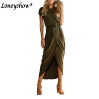 Elegant Summer Long Maxi Dress Brand Casual Dresses Army Green Draped Asymmetric Short Sleeve Oversized Dress