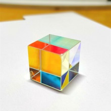 Prism Six-Sided Bright Light Combine Cube Prism 15*15*15mm Stained Glass Beam Splitting Prism Optical Experiment Instrument недорого