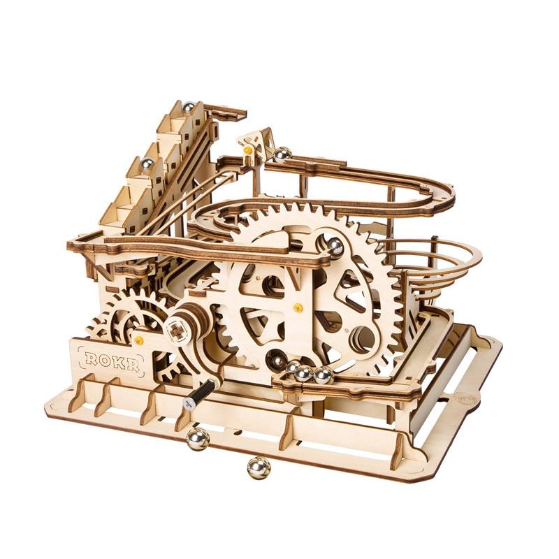 Bricolage 4 sortes de marbre course jeu Waterwheel en bois modèle Kits de construction assemblage adulte 3d en bois Puzzle jeu jouets cadeau pour les enfants