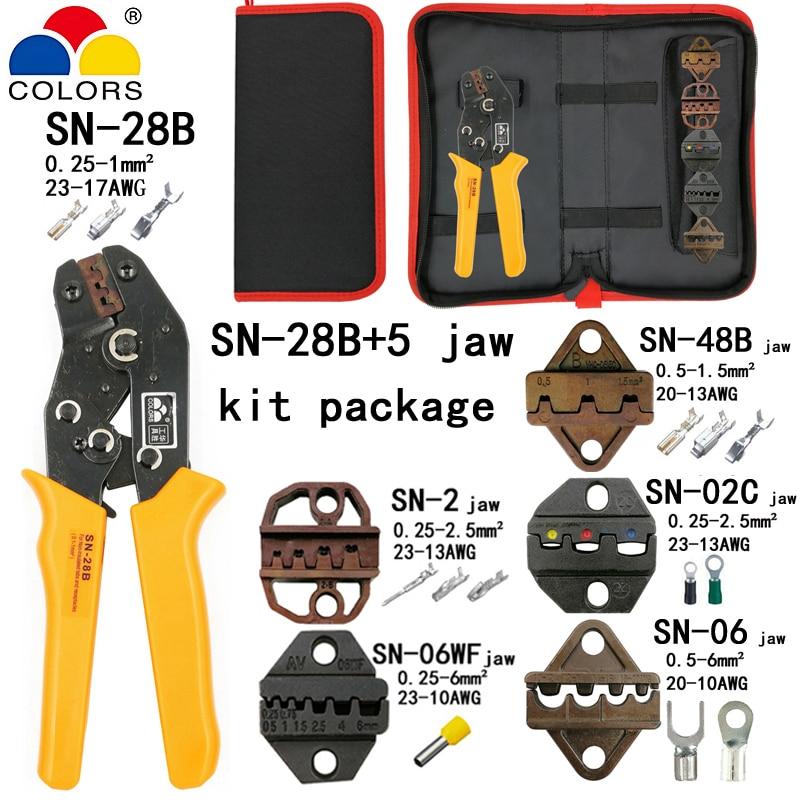 Kit Abisolieren Schneiden Draht Zangen Anzug Werkzeuge Sn-28b 0,25-1mm2 Zangen 5 Backe Für Stecker/rohr/isolierung Terminal Marke Werkzeuge Handwerkzeuge