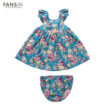 Fansin Brand Baby Girls Dress 2017 Summer Beach Style Floral Print Party Dresses For Girl Clothes Toddler Kids Princess Clothing