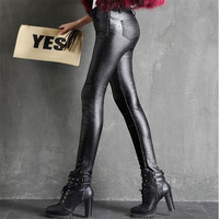 New Women Pants Leggings Thick Velvet Slim Leather Autumn Winter Sexy High Waist Pants Trousers Black