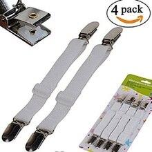 4 Uds. Cubierta de colchón elástico ajustable Clip de soporte de esquina sujetadores de hoja de cama correas pinzas de suspensión gancho para cordones cierres de bucle 35