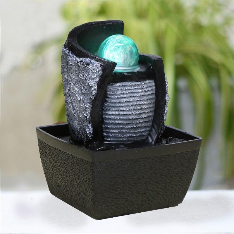 110 v 220 v zen style rsine mini fontaine deau air humidificateur feng shui ornements dcor la maison salon chanceux bureau led atomiseur dans figurines - Fontaine A Eau Zen