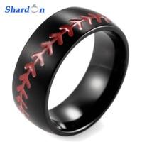 SHARDON Domed 8MM IP Black Titanium Baseball Ring with Red Stitching Fan Sports Band Wedding band engagement ring