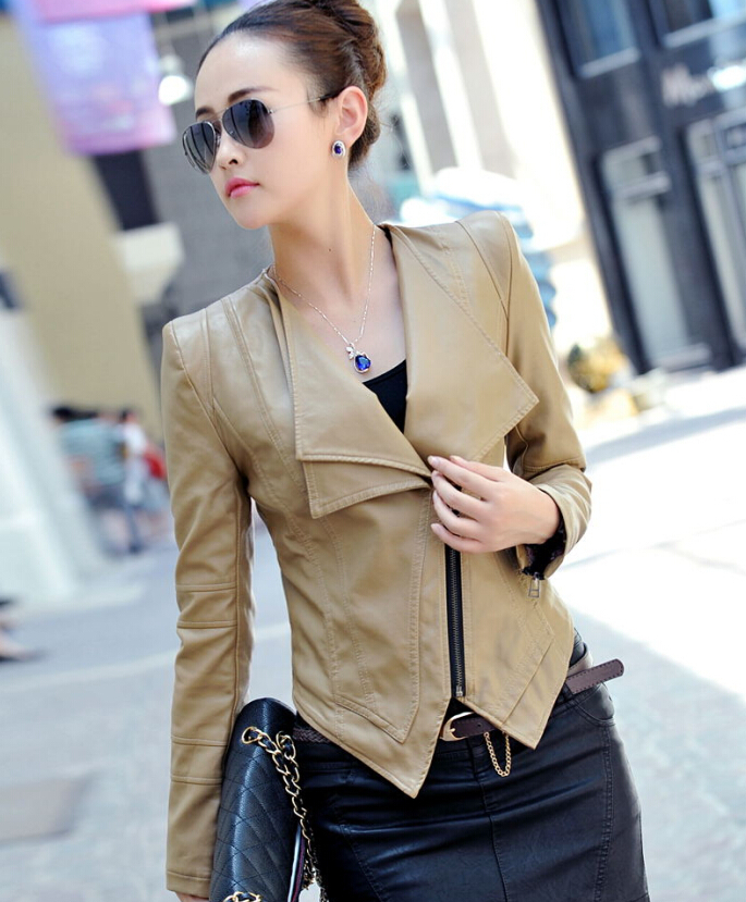 Autumn and winter New Women's Zipper Beige Leather Jacket ...