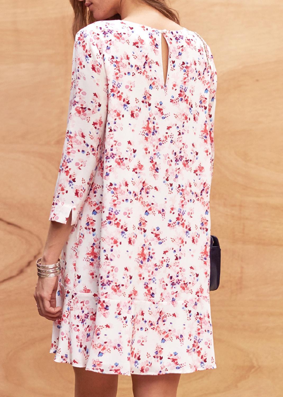 Femmes Imprimer Robe Picture Mini Fleur Soie As Show c4jLq3R5A