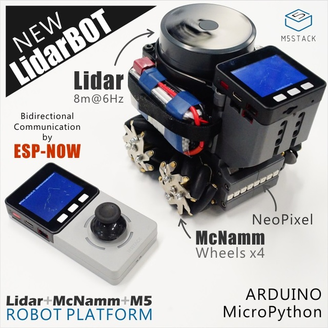M5Stack Nuovo Lidar Bot Mini Auto Lidar 8m @ 6Hz McNamm Ruote NeoPixel HA CONDOTTO LA Barra con ESP32 A Distanza di Controllo per Arduino Micropython