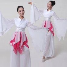 White/red Chinese Ethnic Costumes Yangko Dance Clothing Classical Female Fan Myth Fairy Stage Performance