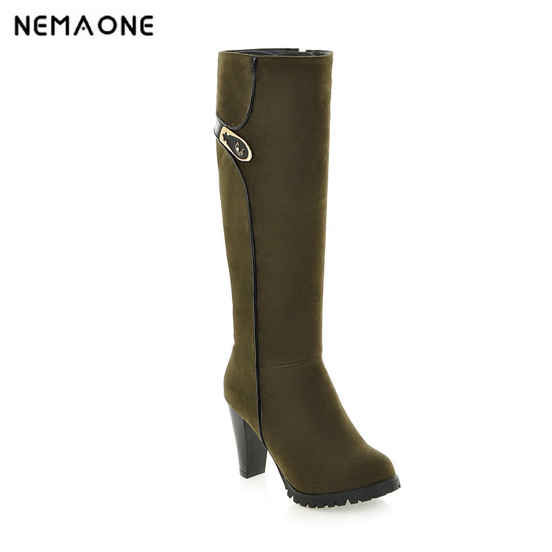 2019 spring autumn sweet knee high 9cm super high heel women boots thin women shoes party shoes it`s green apricot and red trendy metal and rhinestones design women s knee high boots