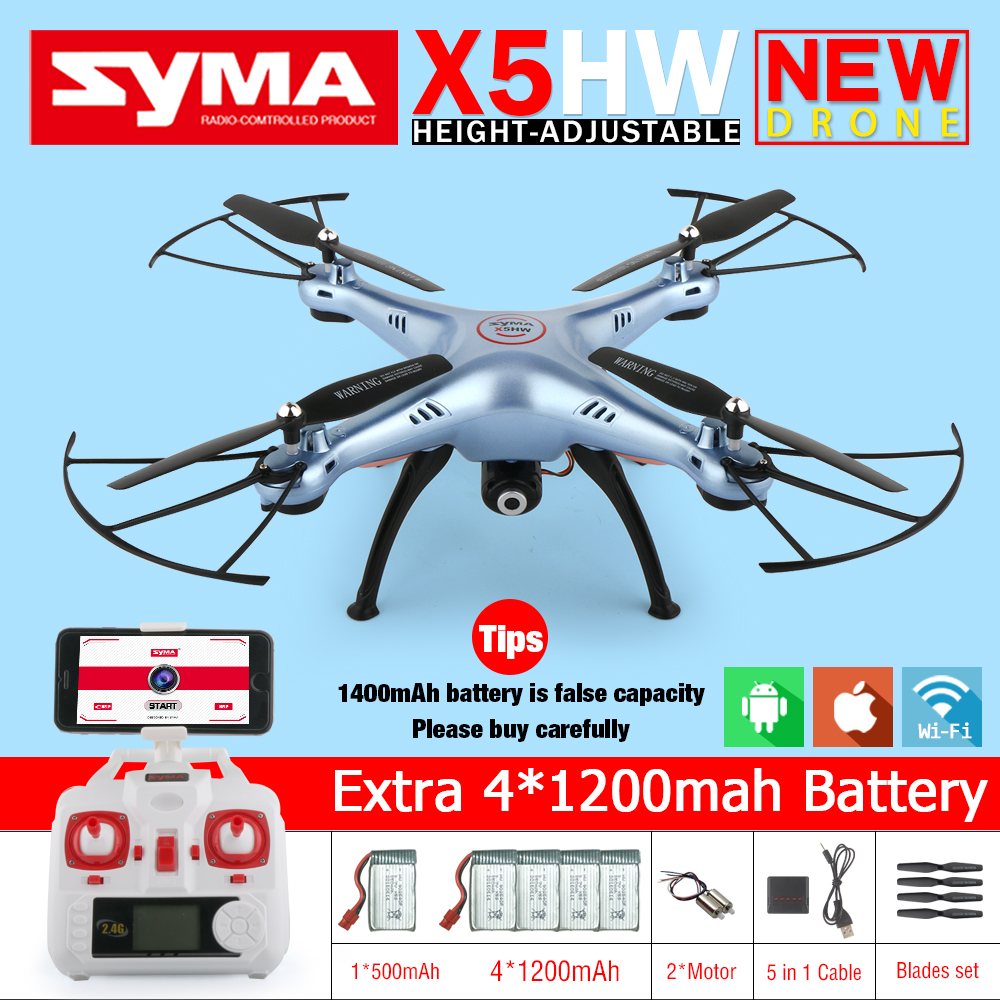 Syma X5HW FPV RC Quadcopter RC Drone with WIFI Camera 2.4G 6-Axis VS Syma X5SW Upgrade Drones RC Helicopter Toys with 5 battery syma x5hw fpv rc quadcopter drone with