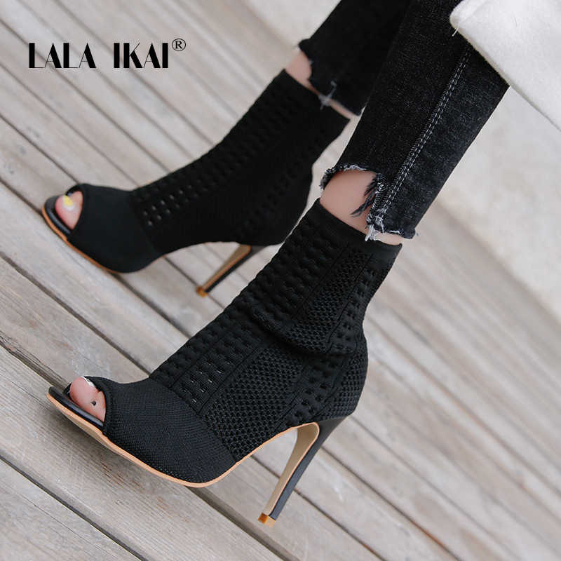 LALA IKAI femmes hiver PU noir bottines bout carré Med talon dames bottillon bout ouvert pompes chaussures XWC3939-4