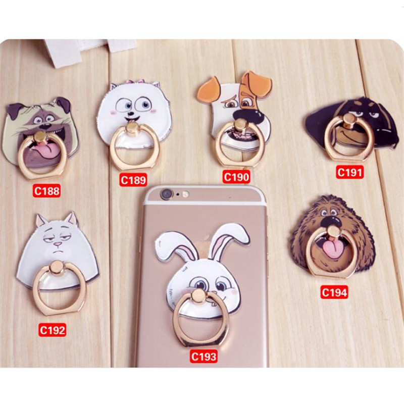 Galleria fotografica UVR Animals Cat Dog Finger Ring Smartphone Stand Holder Phone Holder Stand For iPhone Xiaomi Acrylic Reusable All Smart Phone#