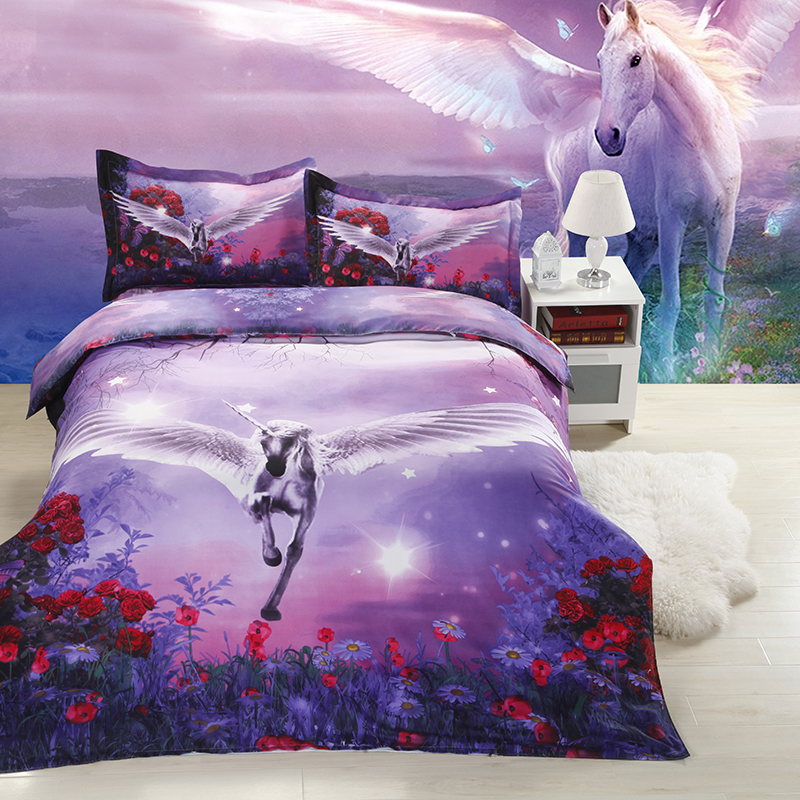 Purple color flying horse print bedding set for girls home decor full queen size bed linens duvet covers figure class ultra instinct goku