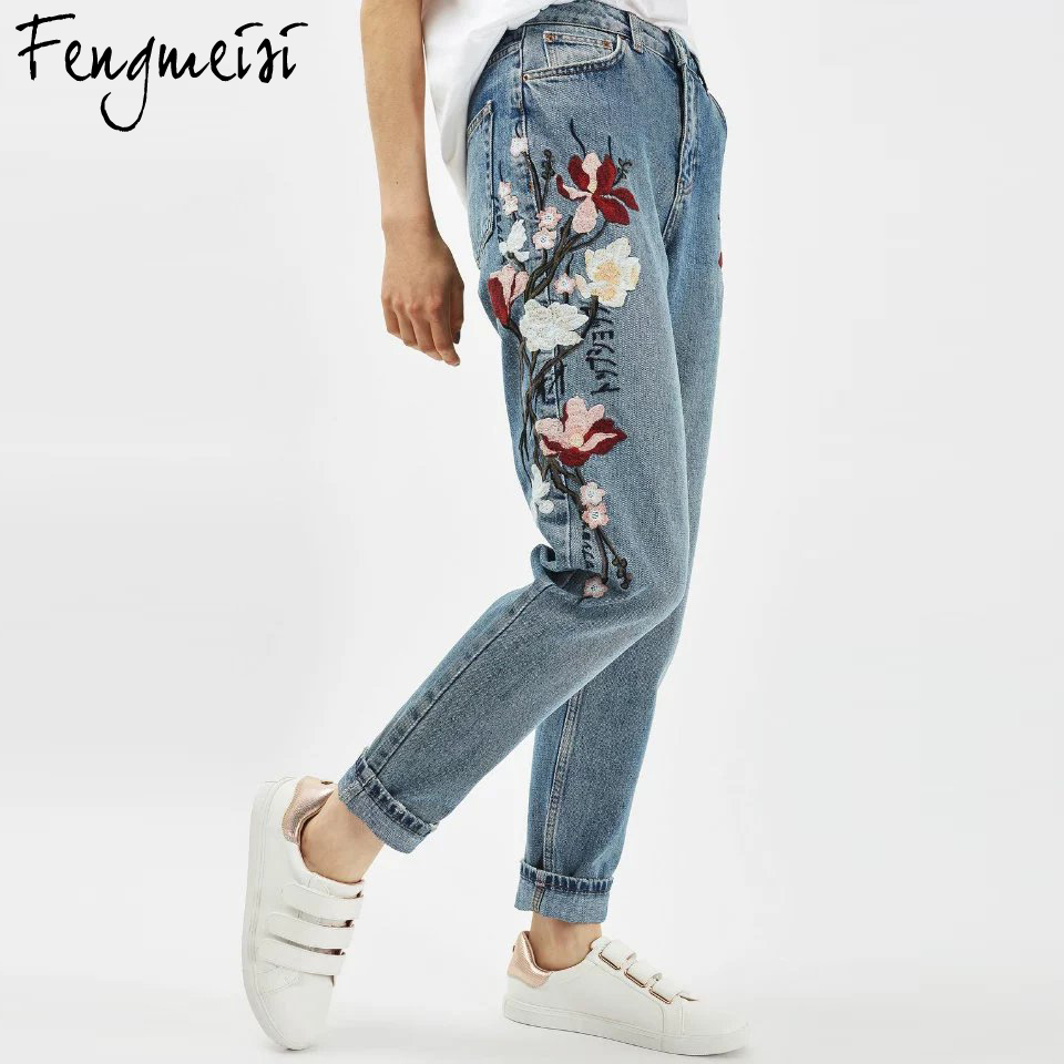 Fengmeisi Plus Size Flower Embroidery Jeans Female High Waist Jeans 2017 Spring Summer Women Jeans Femme Pencil Pants P4056 flower embroidery jeans female blue casual pants capris 2017 spring summer pockets straight jeans women bottom a46