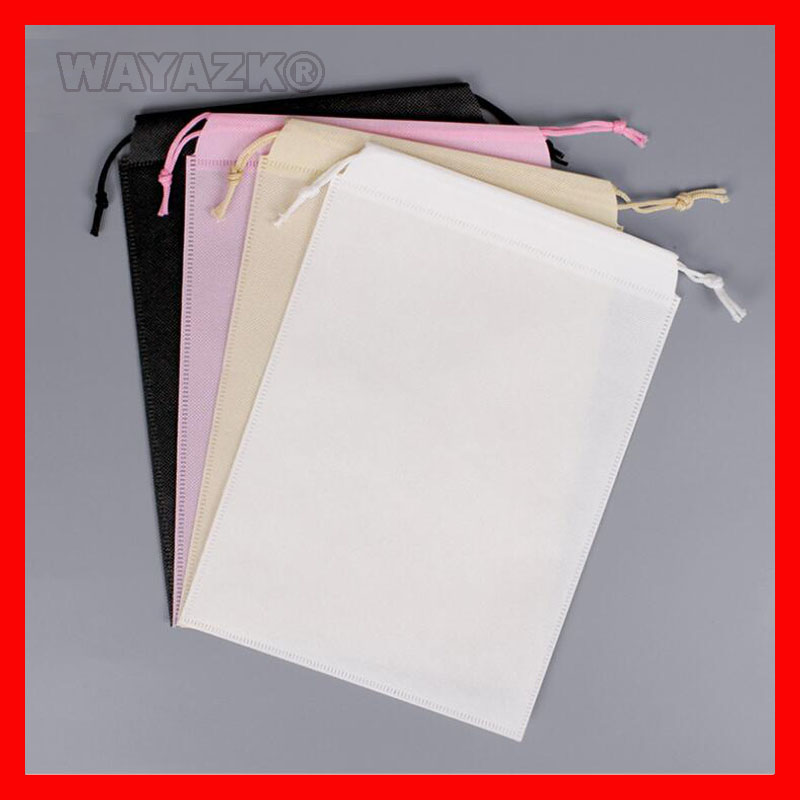 100 pieces lot size small white black 70gsm non woven fabric eco drawstring string bag