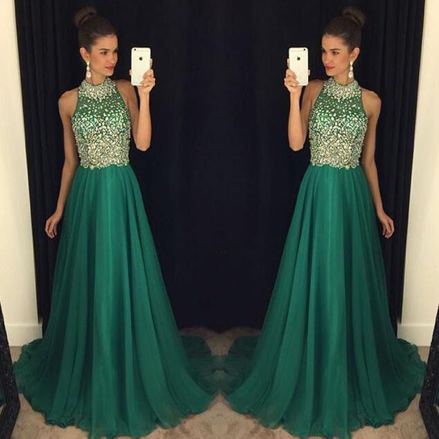 Dresstells Emerald Green Prom Dress Halter Crystal Beaded A Line