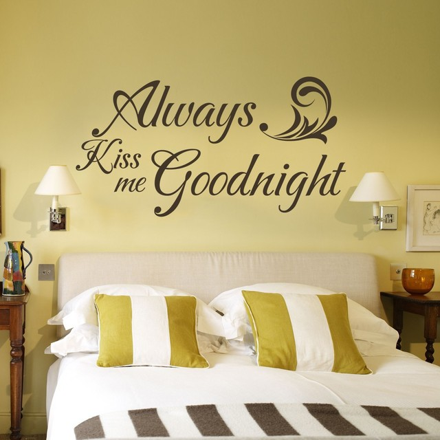 Valentine Wall Quote   Always Kiss Me Goodnight   Vinyl Wall Decal Couple  Room Decor 43