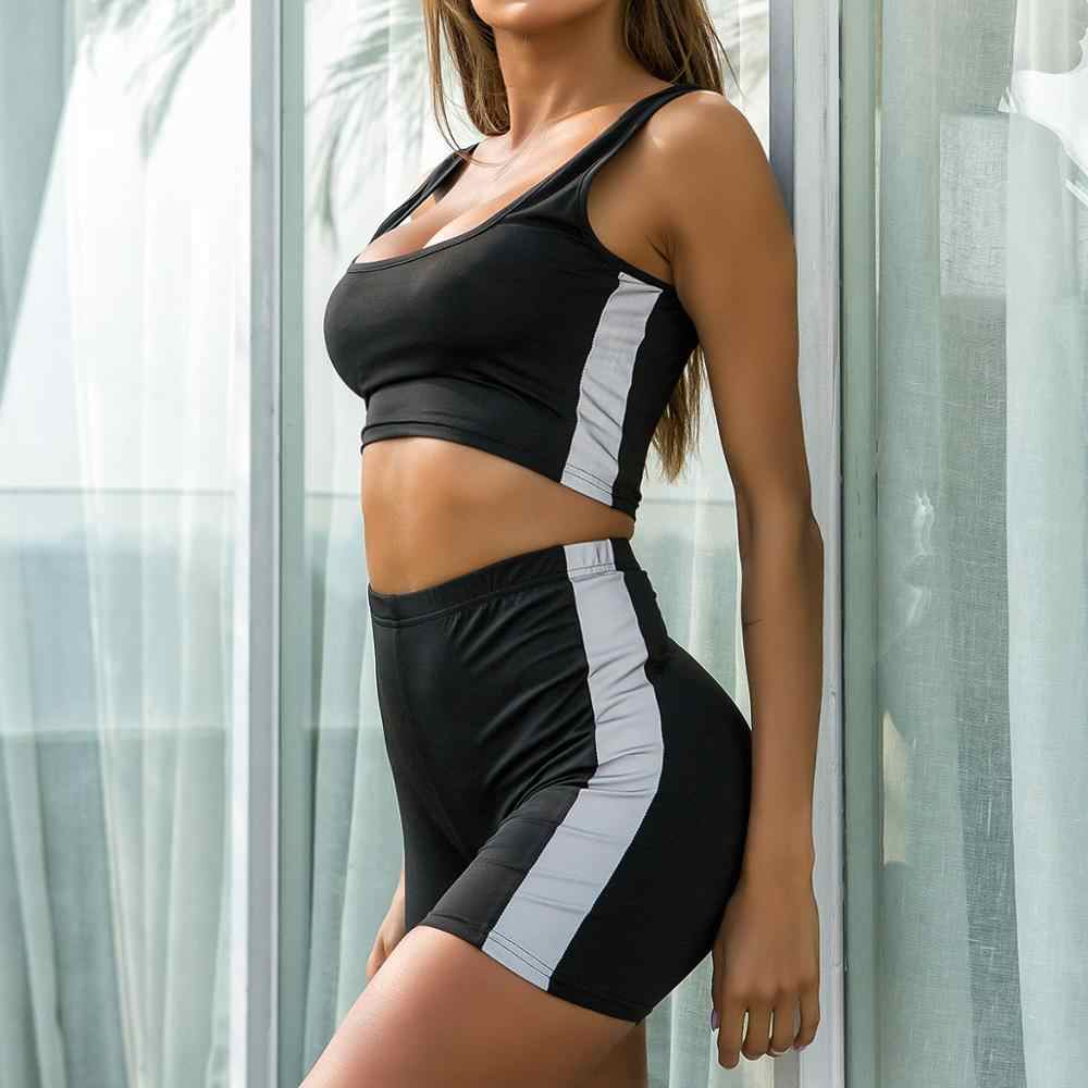 2019 new women two pieces set Reflective striped patchwork sexy skinny strapless crop top elastic shorts tracksuit outfits