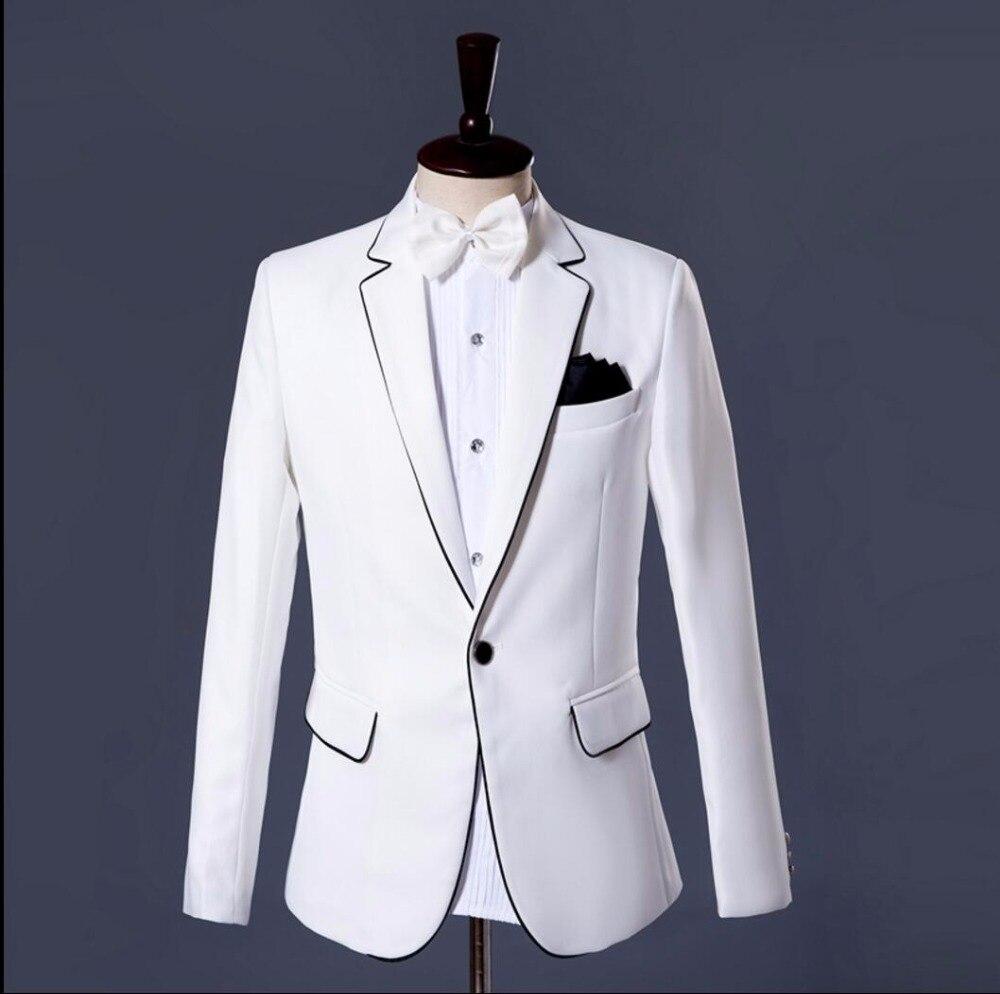 Réunion Noire Costumes Avec Vêtements Chanteur Blanc Pants Robe Annuelle Jacket Costume Nouveaux De Bordure 2018 Hôte Stade And Hommes Photo Mode xpZX4q