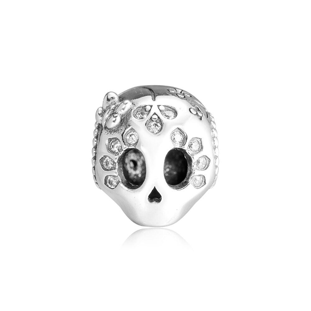 925 Sterling Silver Bead Sparkling Skull Charm Fits Original Pandora Bracelet for Women DIY Jewelry Birthday Gift Kralen(China)