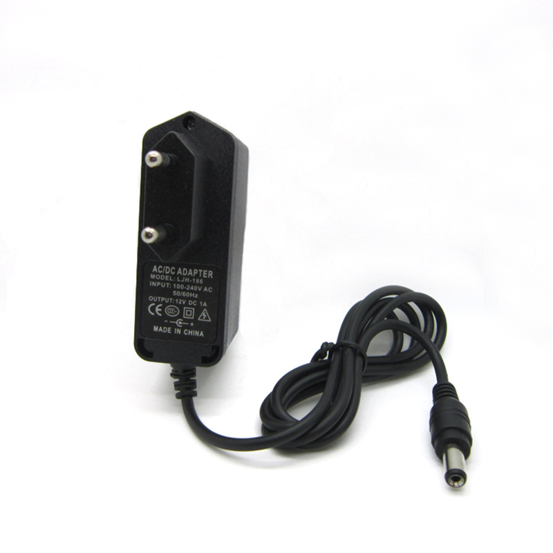 AC DC power adapter <font><b>12V</b></font> 1A <font><b>1000MA</b></font> 12W Converter Adapter Charger DC5.5*2.1mm Plastic case LED driver wall-mounted with EU plug image