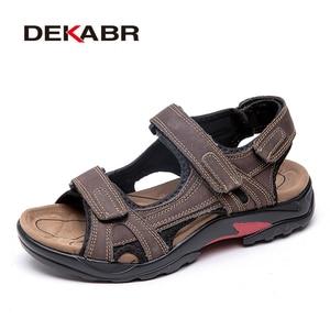 Image 4 - Dekabr Top Kwaliteit Sandaal Mannen Sandalen Zomer Echt Lederen Sandalen Mannen Outdoor Schoenen Mannen Lederen Schoenen Grote Plus Size 46 47 48