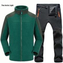 THE ARCTIC LIGHT Man Fishing Waterproof Trekking Camping Hiking Outdoor Jacket Pant Set Sports Fleece Jacket+Soft shell Trouser