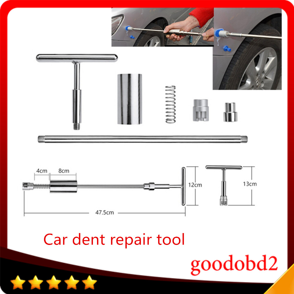 Paintless Dent Repair Tool PDR Tapdown Hammer Multifunctional hammer Stainless steel 2 in 1 Car Body Dent leveling hammer Silver