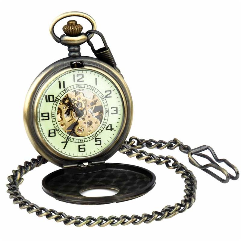 Retro Pocket Watch for Unisex Men Women Bronze Elegant Engraved Case Steampunk Skeleton Mechanical Movement With Chain Gift Box 7
