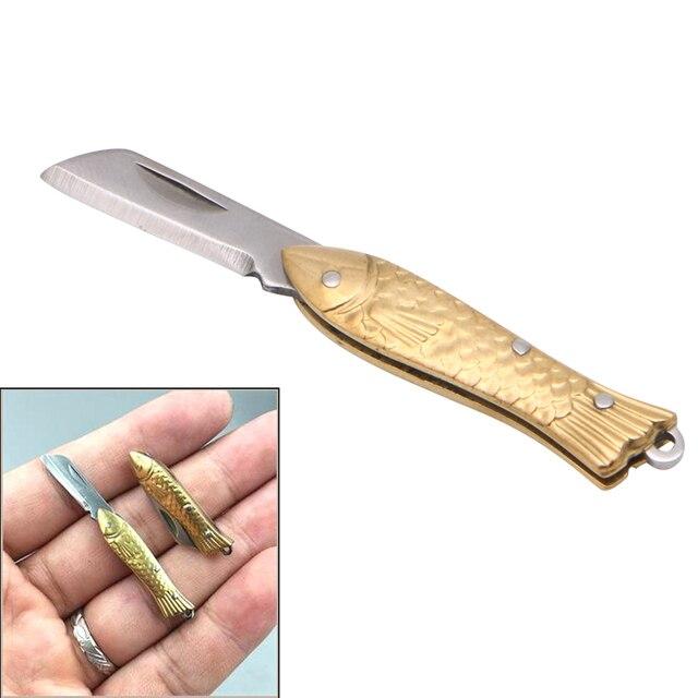 Эми маленький fishshape брелок карман брелок тактический складной папки Ножи латунь приятные подарки